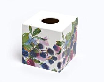Blackberry Tissue Box Cover wooden handmade