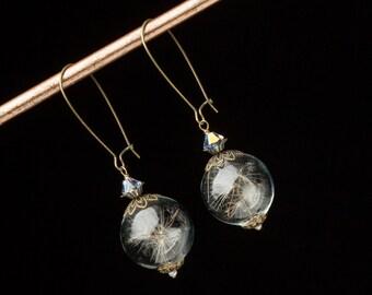 Dandelion Earrings, Wish Earrings with Dandelion Seeds, Glass Orb Earrings in Gold Filigree, Pearl & Crystal Wedding Dandelion Jewelry Gift
