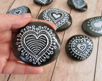 Heart Decor, Hand Painted Rock, Valentine's Day Gift, Valentine Day Gift for Him, Heart Stone, Black Painted Rock, Paperweight Decor, Love