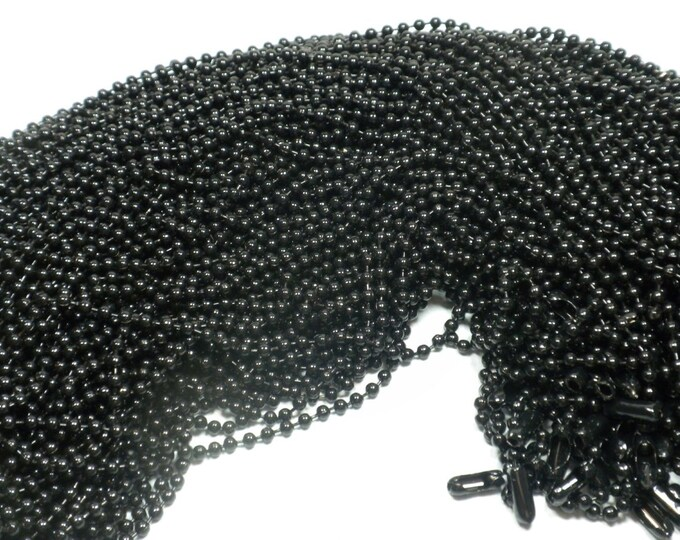 Black Ball Chain Necklaces - 24 inch - 2.4mm Diameter - Set of 12