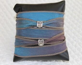 OWL beads blue ombre Silk Ribbon Bracelet