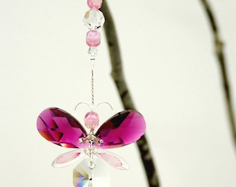 Butterfly Gift Swarovski Crystal Suncatcher Car Charm Car Accessories Pink Butterfly Ornament Rear View Mirror Charm Guardian Angel Gift