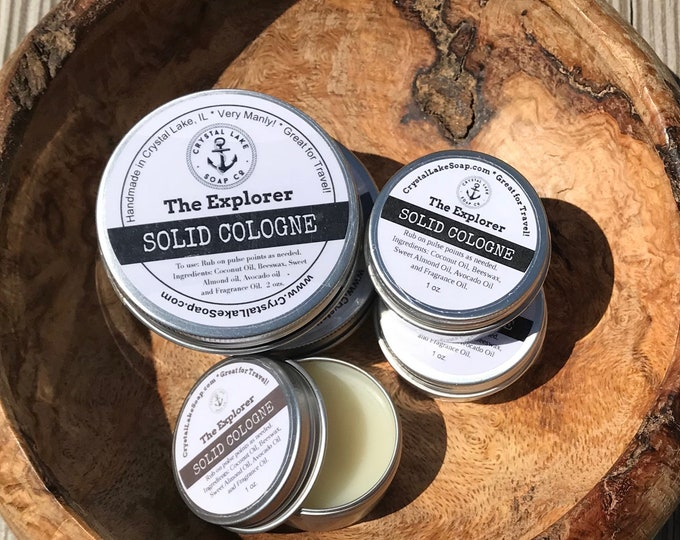 The EXPLORER Solid Cologne Tin - Great for Travel, Work, Gym & Pocket.  Masculine or Unisex Cologne