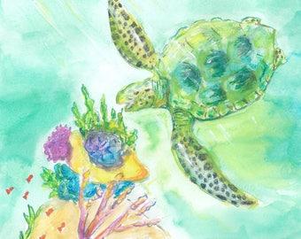 Green Sea Turtle Grabbing a Snack - Watercolor Print - Beach House Decor