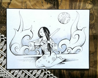 Inktober Mulan Sword, Print on Card Stock, Coloring Page