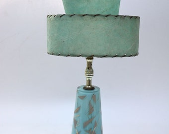 Original Mid Century Modern Glass Aqua Lamp with Tiered Resin Whip Stitched Shade
