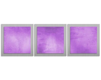 Purple & Silver Artwork Modern Metal Wall Art 'Violet Essence' 38x12 in - Orchid Accent - Contemporary Décor - Orchid Art
