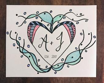 Love - Doodle - Custom - Wedding - Anniversary - Original art - Engagement