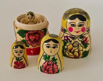 "Easter Authentic set 4 Vintage Wood Russian  MATRYOSHKA babushka nesting dolls 9 cm 3.5"" traditional rare gift"