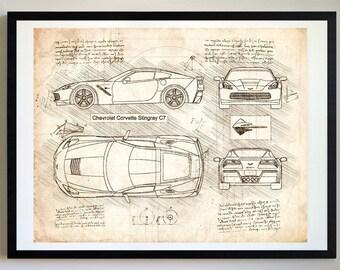 Corvette art etsy corvette stingray c7 2013 da vinci sketch corvette artwork blueprint specs malvernweather Image collections