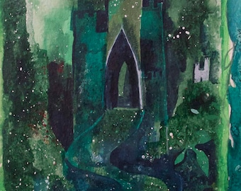Emerald Castle giclée print 7 x 5 inches print on Museum quality paper by Romany Steele