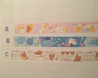 San-X Rilakkuma, Corocoro coronya or Jinbesan washi tape sample