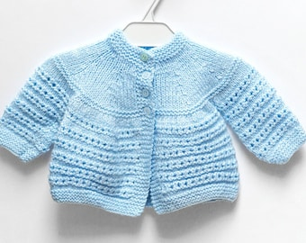 Cute Blue Knit Baby Sweater, 0-3 Months Old