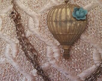 Elsie Belle vintage designer necklace air balloon with blue lucite flower gorgeous