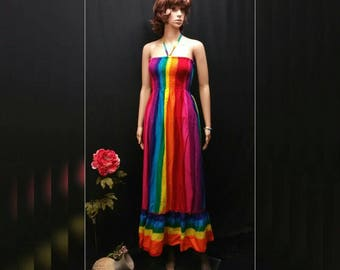 Rainbow Women Maxi Sundress, Gay Color, Boho Convertible Straps Ruffle Rainbow Dress, Gay Pride Festival Dress, Capital Pride Dress, LGBT