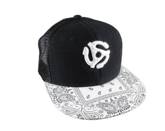 3D Puff Embroidery White Music 45 Spacer on a White Bandana Retro Flat Bill Structured Adjustable Black Trucker Style Baseball Cap Snapback