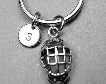 Hockey helmet keychain, hockey helmet charm, hockey keychain, helmet, sports keychain, personalized keychain, initial keychain, monogram