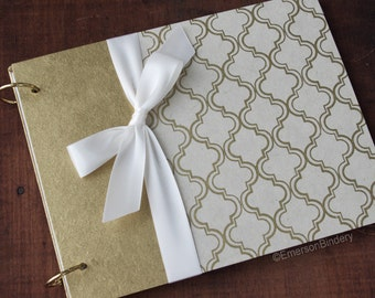 Wedding Guest Book, Guest Book with Removable Pages, Personalized Guest Book, Birthday Guest Book, Gold and Ivory Moroccan Print
