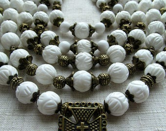 White necklace-Traditional necklace-Ethnic necklace-Brass crosses-Ukrainian necklace