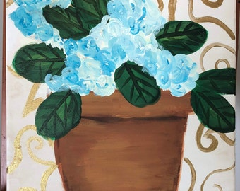 Gold and Blue Hydrangeas No. 3: Original 12x12 acrylic fine art painting. Part of 3 piece set.