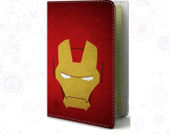 Iron Man Passport cover Leather Passport holder Red cover for passport Travel cover Travel Gif Personal passport Accessories