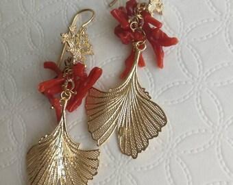 Silver earrings, coral earrings, pendant earrings, Italian jewellery