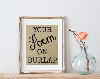 Custom Poem Print on Burlap, Custom Poem Print, Personalized Poem Print, Poem, 1st Anniversary Gift, Girlfriend Gift, Boyfriend Gift, Verse