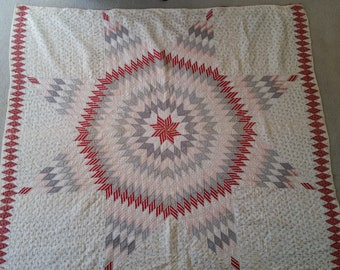 Stunning Kentucky Star Quilt in Red, White Pink & Gray - 1925 with Kentucky Quilts Book