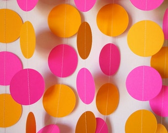 Hot Pink and Dark Golden Yellow Party Garland, Baby's 1st Birthday, Mother's Day, Pink & Yellow (light orange) Birthday Party Decoration