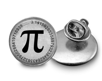 Pi Symbol Tie Tack or Lapel Pin - Men's - Math - Black, White or Grey - Father's Day