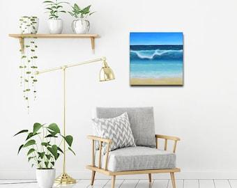 Original ocean acrylic canvas painting | 1 x 19,5 x 19,5 cm