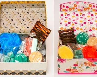 Gift Basket, Spa gift, Graduation Gift, Gift Box, Handmade Soap, Soap Gift Box, Pink or Black Gift Box Set
