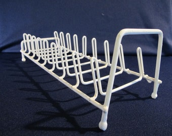 vintage WHITE wire DRYING RACK dish metal rubber sink drainer Display Organizer