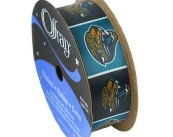 """7/8"""" NFL Jacksonville Jaguars Ribbon, 9 foot spool Licensed NFL Offray Ribbon"""