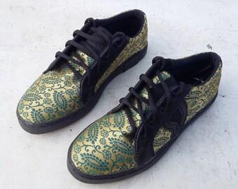 green gold songket shoes US 7 women / EU 38 ethno Ikat cotton leather handmade Rangkayo sneakers