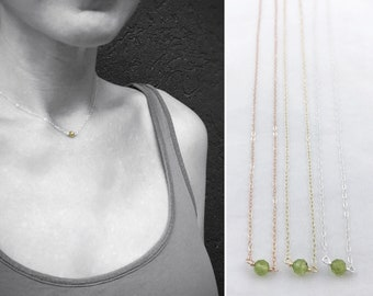Tiny August Birthstone Necklace - Genuine Faceted Green Peridot - Sterling Silver / 14k Yellow Gold Fill / 14k Rose Gold Fill - Minimalist
