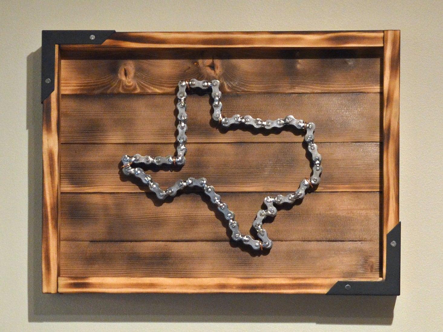 Handmade Texas Chain Link Sculpture, Mounted In Custom Display Frame ...