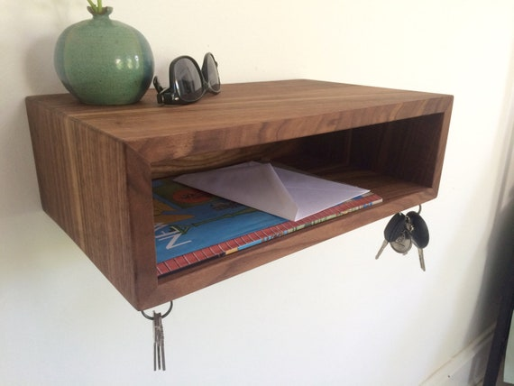 Foyer Key Table : Floating entryway organizer shelves with magnetic key hooks