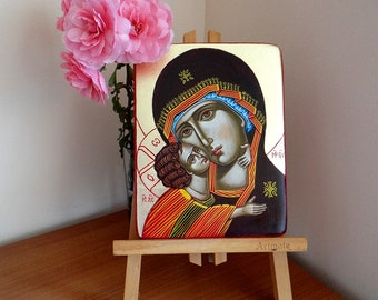 Madonna and Christ Eleusa icon, Chrsitmas Nativity Gift,  Gift for Mom, handpainted icon 7x 6 iches