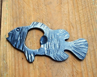 Perch bottle Opener Hand crafted by a blacksmith in the USA #113 fish bottle opener