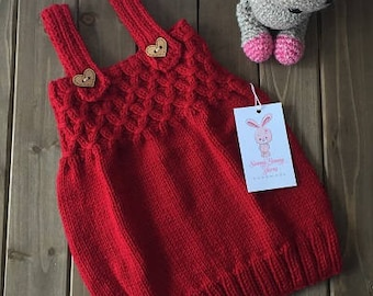 Hand Knit Baby Girl Dress 9-12 Months, Ready to Ship