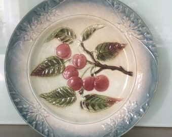 French Vintage Majolica Cherry  design plate, Antique, Home Decor