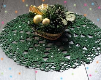 Christmas doily Crochet doily Home decor Table Decoration Christmas decoration Placemat Gift for her Round handmade doily Christmas Tree