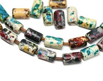 Ceramic Tube beads mix in Earthy colors Green Brown Yellow greek beads for leather cord - 30pc - 2604