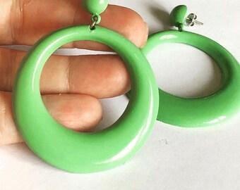 """Vintage 1980's Big Green Plastic hoop Earrings For Pierced Ears 2.5"""" Drop Deadstock"""