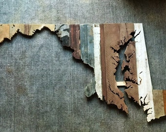Maryland Reclaimed Wood State Outline Wall Art - Large