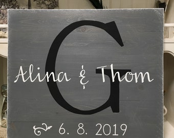 Wedding Sign, Name Monogram Wedding Sign, Initial Names and Date Wedding Sign