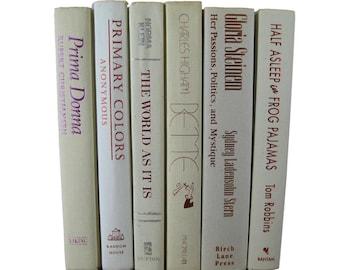 Vintage White Books, Bridal Shower Decorations,   Decorative Books, Mantel Decor, Shelf Decor