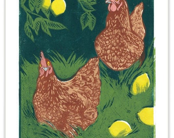 ART602: Hens With Lemons - Full Color Reproduction