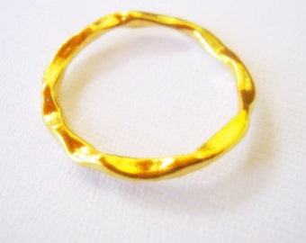 4 Gold Plated Irregular Circle Ring Connector, 24mm, Jewelry Making Supplies, Connector, Jewelry Findings    G1426